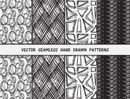 Conjunto de padrões sem emenda de mão desenhada vetor