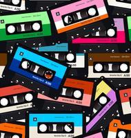 Padrão sem emenda com cassetes de áudio antigas vetor