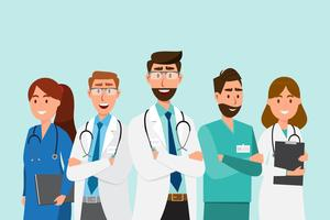 Conjunto de personagens de desenhos animados de médico. Conceito de equipe de equipe médica vetor