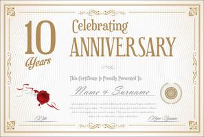 Retro vintage aniversário 10 anos de fundo vetor