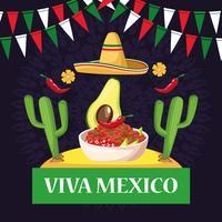 Desenhos animados do cartão de Viva México vetor