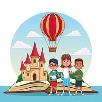 Crianças lendo contos de fadas vetor
