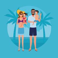 férias na praia vetor