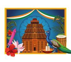 Cartão de turismo de monumento nacional da Índia