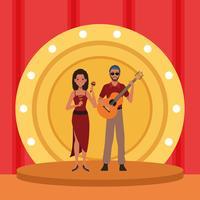 Casal de artista músico vetor