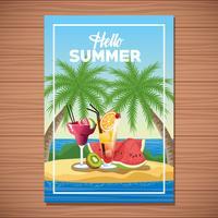Olá cartaz de cartão de verão com desenhos animados vetor