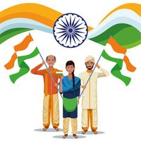 Cartão do Dia da Independência da Índia vetor