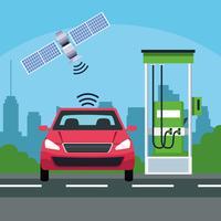 conceito de serviço de carro de localização de gps