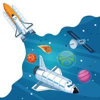 Nave espacial na galáxia milkyway vetor