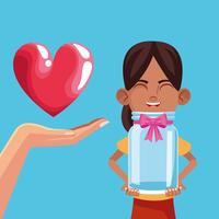 Doação de crianças e caridade vetor