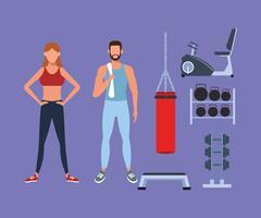 casal de aptidão fazendo exercício