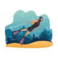 Mergulho pessoas no mar vetor