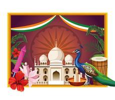 Cartão de turismo de monumento nacional da Índia vetor