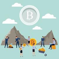 trabalho em equipe digital de bitcoin de mineração