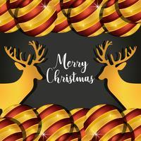 renas de Natal feliz com decoração de bolas vetor