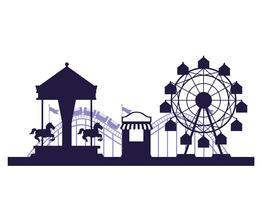 Circo festival justo cenário azul e branco cores