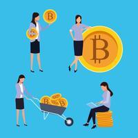 conjunto de mulher de mineração digital bitcoin