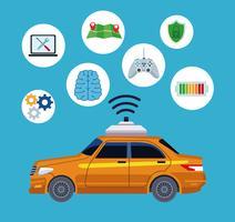 conceito de localização de serviço de carro de táxi vetor