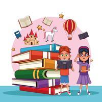 Crianças lendo contos de fadas
