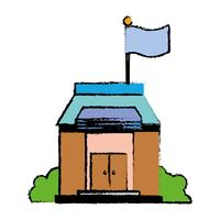 educação escolar com design de telhado e portas