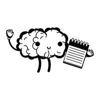 contorno kawaii cérebro feliz com ferramenta de caderno vetor