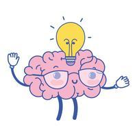 cérebro kawaii feliz com idéia de bulbo vetor