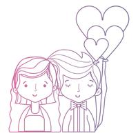 casal de beleza linha casado com design de penteado vetor