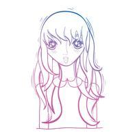 linha beleza anime menina com penteado e blusa vetor