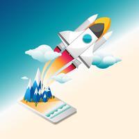Foguete de ascensão plana infográfico do celular para a ilustração do vetor de espaço