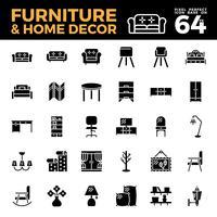 Ícone sólido de móveis e decoração para casa