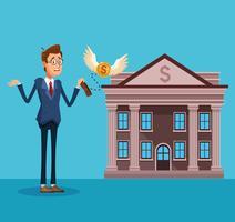Homem negócios, banqueiro, caricatura vetor