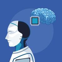 robô com inteligência artificial vetor