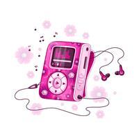 Jogador para ouvir música com design floral rosa brilhante e fones de ouvido. Acessórios musicais elegantes para jovens. Ilustração vetorial