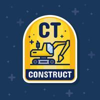 Escavadeira e banner de distintivo de serviço de construção. Ilustração vetorial