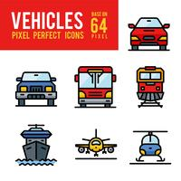 Ícone de cor de contorno de veículo e transporte. Pixel Perfect Icon Base em 64px vetor