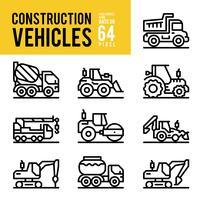 Ícones de contorno de veículo e transporte de construção. Pixel Perfect Icon Base em 64px. vetor