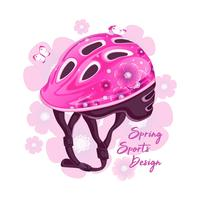 Capacete cor-de-rosa com um teste padrão floral para a patinagem de rolo. Moda esportiva para jovens, projeto de primavera. Ilustração vetorial
