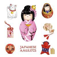 Um conjunto de amuletos japoneses. Tradições japonesas, lembranças turísticas. ilustração do vetor