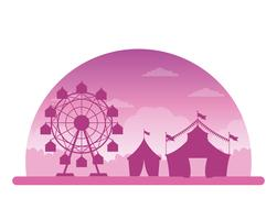Cenário de silhueta justo festival de circo vetor