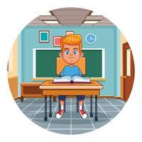 Criança, livro leitura, em, sala aula vetor