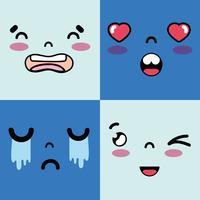 conjunto de rostos emoji com caráter de emoções