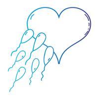 linha de reprodução de espermatozóides fertilizando óvulo em forma de coração vetor