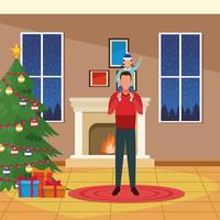 Feliz Natal em família vetor