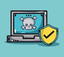 computador com vírus nas informações do sistema vetor