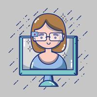 menina com tecnologia de óculos 3d para realidade virtual vetor