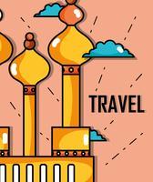 torre de Moscou com nuvem para viajar visita vetor