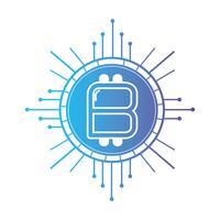 linha bitcoin cryptocurrency dinheiro virtual e virtual vetor