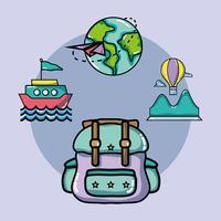 definir viagens de férias e destino de aventura vetor