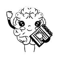 figura kawaii cérebro feliz com ferramenta de caderno vetor