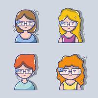 conjunto de crianças com tecnologia de óculos 3d vetor